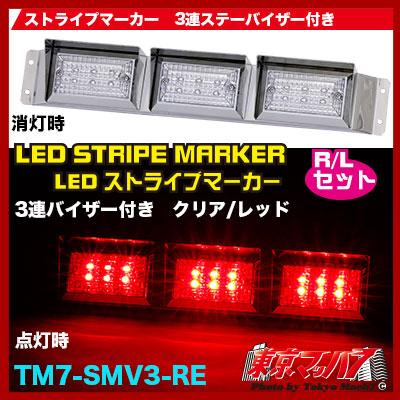 ストライプ角マーカーバイザー付き3連ステー付きR/Lクリアレンズ/レッド