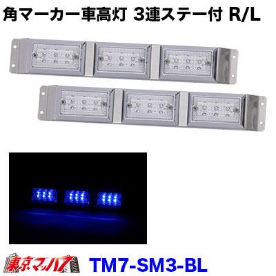 ストライプ角マーカー3連ステー付きR/Lクリアレンズ/ブルー