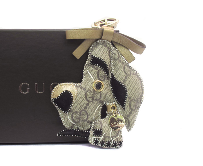 GUCCI Gucci Gucci PR ULISSE Ulisse great Dane dog dog GG plus key ring Keyring bag beige / 25569