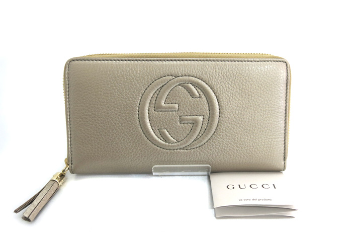 0693eea6f907 ... GUCCI Gucci SOHO Soho round fastener long wallet zip around wallet  double G leather champagne gold