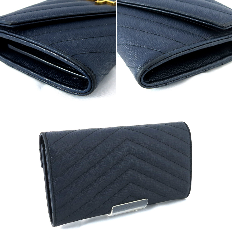 SAINT LAURENT PARIS Saint-Laurent Paris folio long wallet grain powder tex  Chard quilting leather dark blue gold metal fittings ref.372264/27722