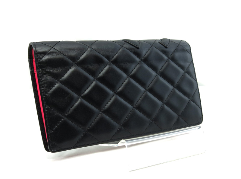 9495b121db174c CHANEL Chanel Cambon line folio long wallet here mark black X white black  A26717/28654