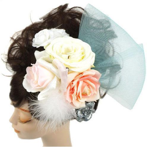 大人の上質  髪飾り コサージュ コーム - ローズホースヘア(ホワイト) - ヘアアクセサリー 白 しろ ピンク シルバー 銀 バラ 薔薇 リボン 女性 レディース 花 フラワー【あす楽】, オオヌマグン 7c039fbd