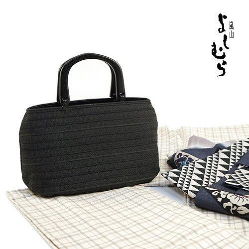 """""""Arashiyama good swings' summer back-and fringe people Tote wood handle (black)-Japanese unisex OK! Classic plain feeling ♪ kimono dress bag ♪ COD fee, and on the same day shipping OK"""