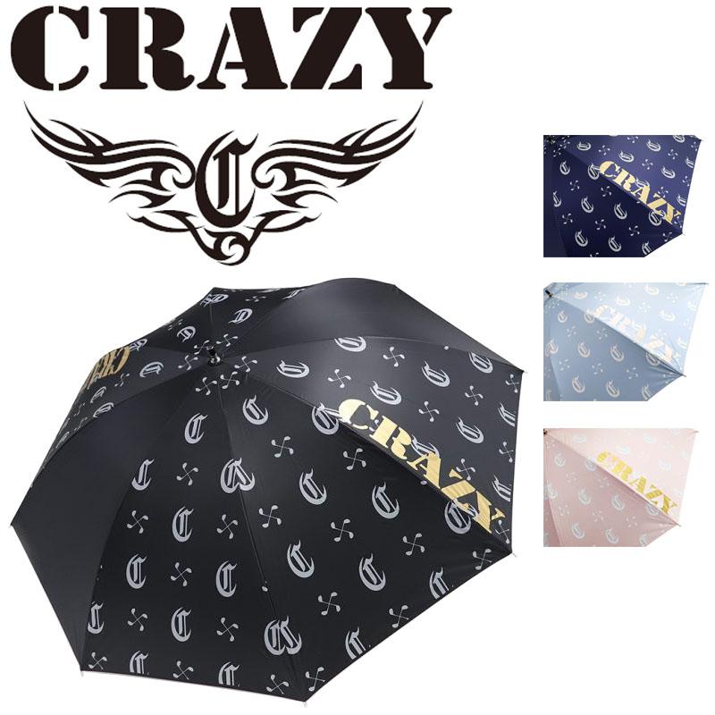CRAZYロゴ入り おしゃれなゴルフ傘 傘袋付き クレイジー アンブレラ 安心と信頼 2021年モデル 晴雨兼用 送料無料でお届けします UVカット ゴルフ傘 メンズ レディース 380g Blue Pink Navy 21at Umbrella 日本正規品 70cm CRAZY Black