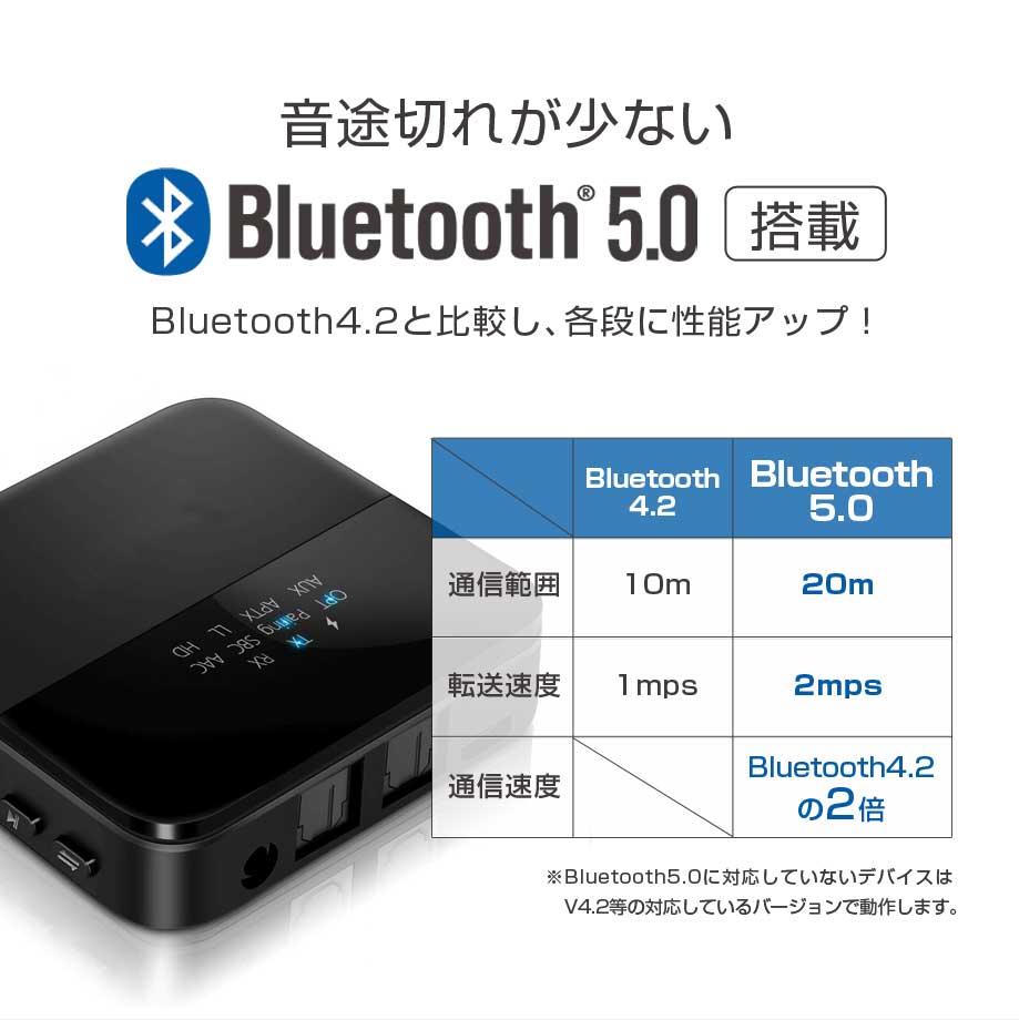 517dce03b4 bluetoothトランスミッター送信機受信機レシーバーイヤホンテレビ光TXRX2台同時ブルートゥース5.0