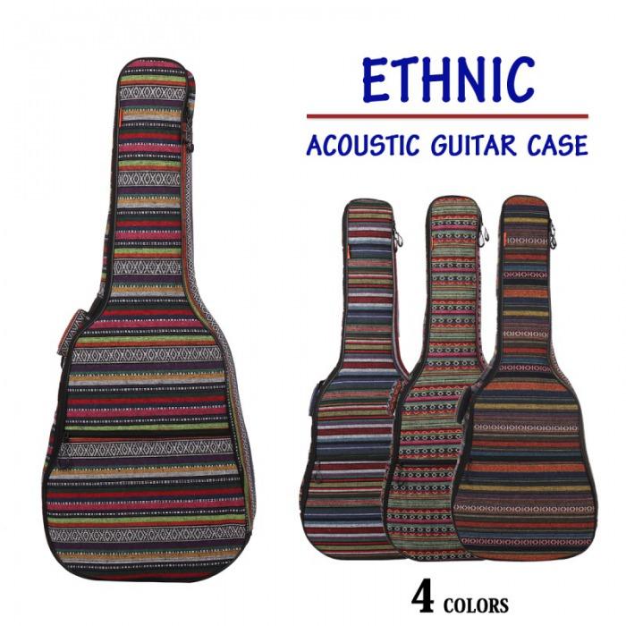 エスニックギターケース アコースティック 民族風 ギターケース ギター ケース ソフトケース ギグバッグ リュック ギグケース クッション付き 軽量 キャリーケース キャリーバッグ MIGC-13 送料無料