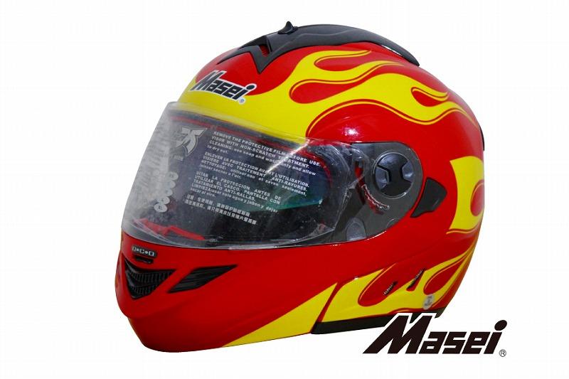 【送料無料!!】Masei(マセイ) フルフェイス フリップアップヘルメット 822 ドクロ スカル柄 レッド