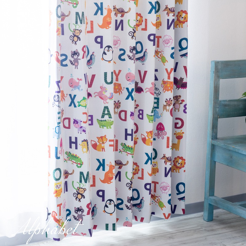 [全品対象10%OFF×本日限定クーポン]カーテン 遮光 おしゃれ 英語 アルファベット 洗える かわいい 子供部屋 キッズ インテリア 友安製作所 YH812 アルファベット 2枚組 OKC4