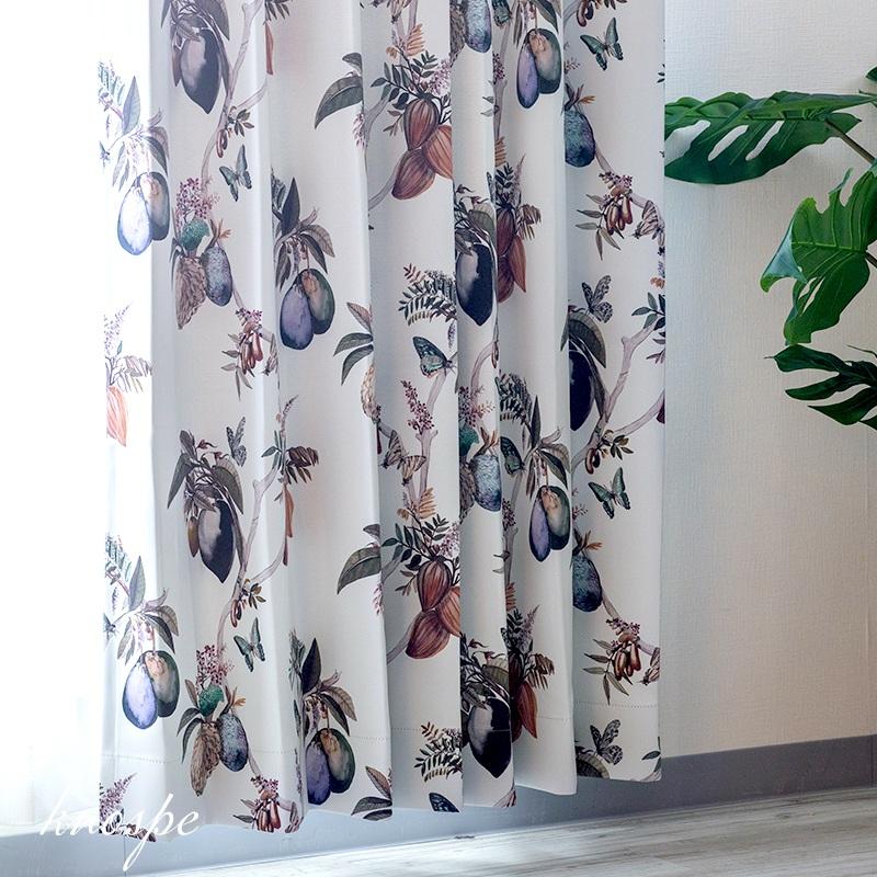 [全品対象10%OFF×本日限定クーポン]カーテン 遮光 おしゃれ 洗える ボタニカル 花柄 リアルタッチ インテリア グリーン 友安製作所 YH816 ノースプ 2枚組 OKC4