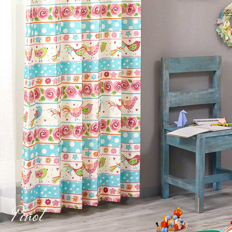 カーテン 小鳥 子供部屋 ピンク 水色 光を通すカーテン コットン100% スペイン ウォッシャブル YH994 ピノ