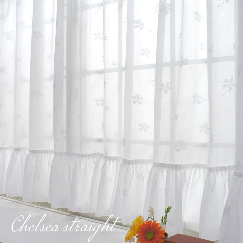 即納可 カーテン 出窓用レースカーテン かわいい おしゃれな窓辺に花柄遮像レース 買取 スタイルレースカーテン 出窓 CSZ ミラーレースカーテン ストレート フリル 受注生産品 花柄 チェルシー 遮像