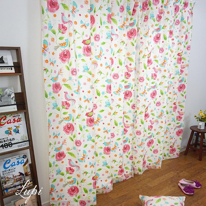 [全品対象10%OFF×本日限定クーポン]インポートカーテン コットン /●ルピ/【YH935】幅100×丈178/丈200cm[2枚組]/幅200×丈178/丈200cm[1枚][かわいい 子供部屋 女の子 花柄 洗える オリジナルデザイン スペイン] 日本製 OKC5