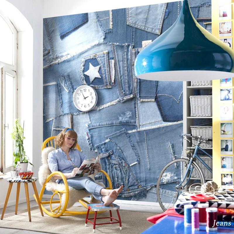 [全品対象10%OFF×本日限定クーポン]壁紙 のり付き おしゃれ クロス 輸入壁紙 紙 店舗 内装 撮影 ドイツ製 北欧 デニム 生地 ブルー [Jeans/ジーンズ]8-909 友安製作所