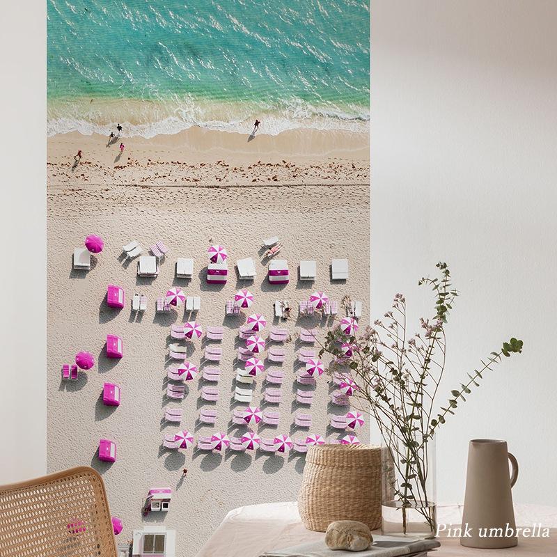 [全品対象10%OFF×本日限定クーポン]壁紙 クロス 輸入壁紙 インポート壁紙 おしゃれ はがせる 張り替え 補修 のり付き だまし絵 wallpaper コマー Pink umbrella ピンクアンブレラ P011-VD1
