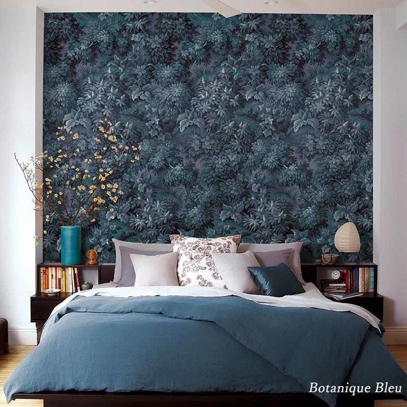 [全品対象10%OFF×本日限定クーポン]壁紙 クロス 輸入壁紙 インポート壁紙 おしゃれ はがせる 張り替え 補修 のり付き だまし絵 wallpaper コマー Botanique Bleu ボタニークブルー HX6-007