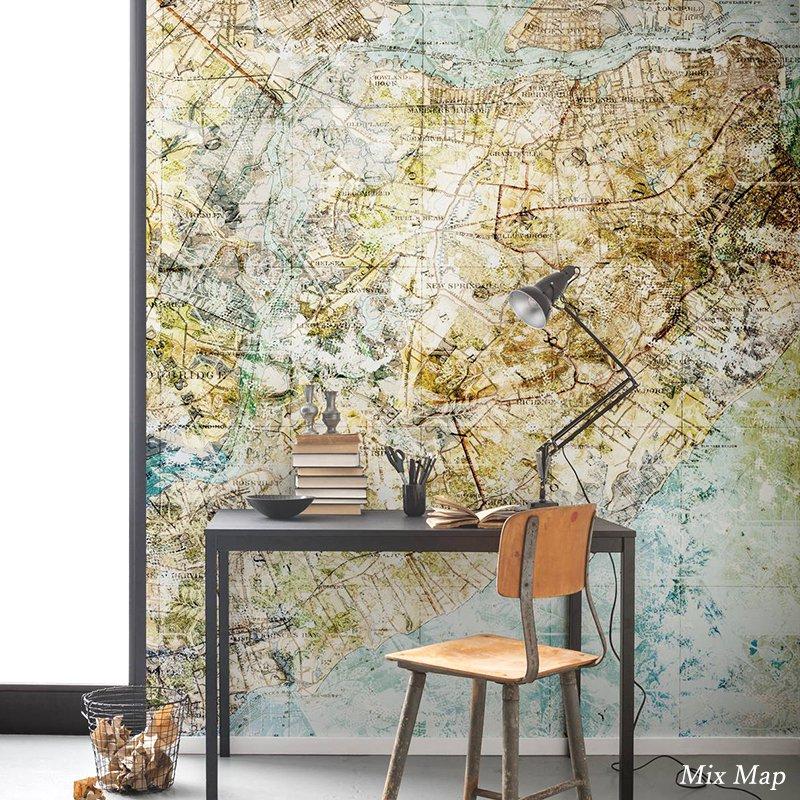 [最大2000円クーポン配布中×マラソン]壁紙 のりなし おしゃれ クロス 輸入壁紙 不織布 フリース はがせる 店舗 内装 ドイツ製 アンティーク 地図[Mix Map/ミックスマップ]6002A-VD2