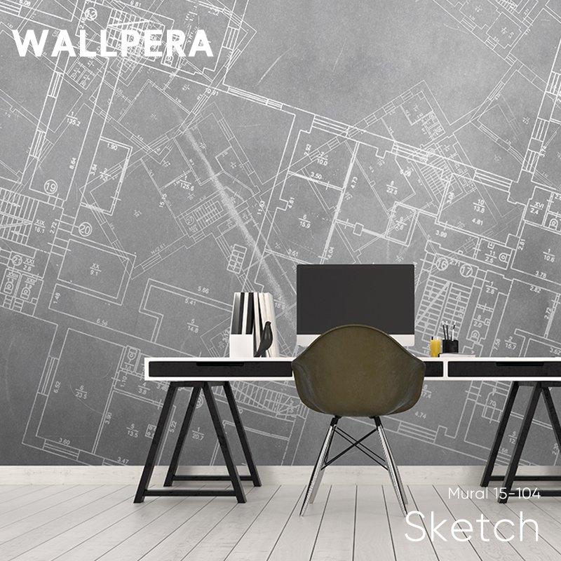 [全品対象ポイント10倍×20日20:00~23:59]輸入壁紙 おしゃれ 壁紙 クロス 不織布 WALLPERA インダストリアル Mural 15-104 Sketch スケッチ 友安製作所