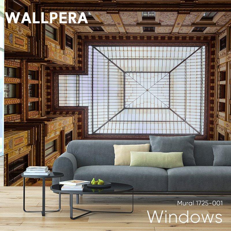 [全品対象10%OFF×本日限定クーポン]輸入壁紙 おしゃれ 壁紙 クロス 不織布 WALLPERA 天井 Mural 1725-001 Windows ウィンドウズ 友安製作所