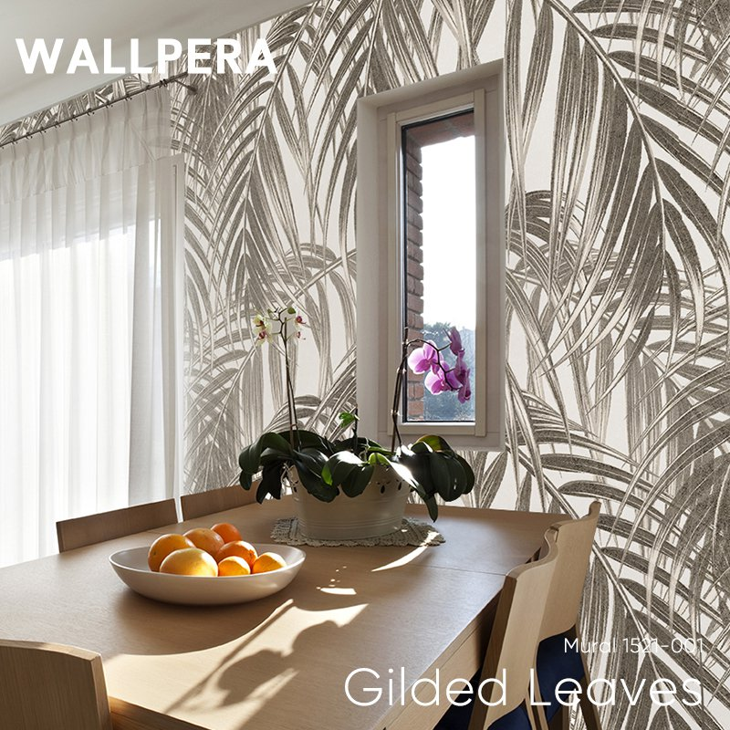 [8%OFFクーポン×マラソン]壁紙 クロス 輸入壁紙 不織布 WALLPERA [Mural 1521-001 Gilded Leaves] ギルデッドリーブズ 《即納可》