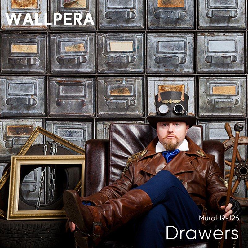 [全品対象ポイント10倍×20日20:00~23:59]輸入壁紙 おしゃれ 壁紙 クロス 不織布 WALLPERA インダストリアル Mural 19-126 Drawers ドロワーズ 友安製作所