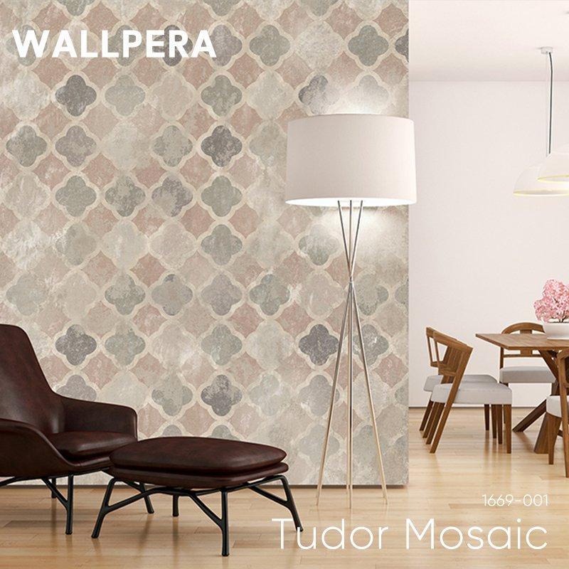 [最大2000円クーポン配布中×マラソン]輸入壁紙 おしゃれ 壁紙 クロス 不織布 WALLPERA 北欧 1669-001 Tudor Mosaic チュードルモザイク
