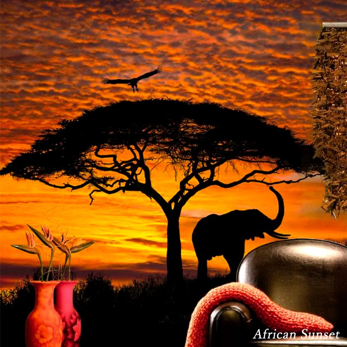 Product made in stylish cross import wall paper store interior photography  Germany scenery savanna [the setting sun of African Sunset/ Africa] 4-501