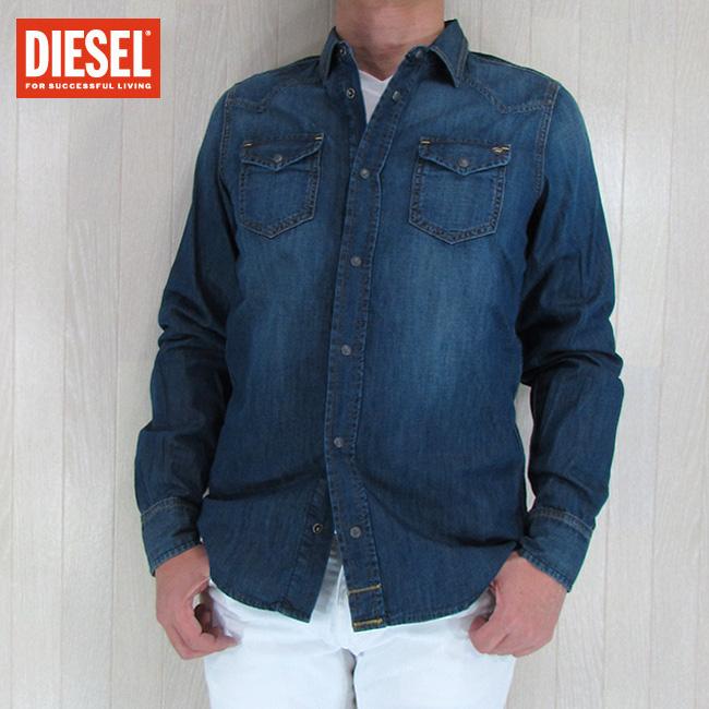 DIESEL ディーゼル メンズ シャツ 長袖 コットン トップス デニムシャツ SONORA/ブルー サイズ:S/M/L/XL/XXL