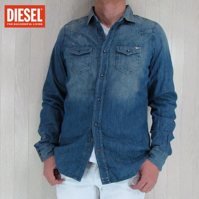 DIESEL ディーゼル メンズ シャツ 長袖 コットン トップス デニムシャツ SONORA/ブルー サイズ:M/L