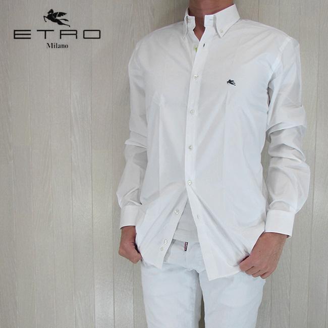 ETRO エトロ シャツ メンズ トップス 長袖 カジュアル カジュアルシャツ 13864 3080/ホワイト サイズ:40/41