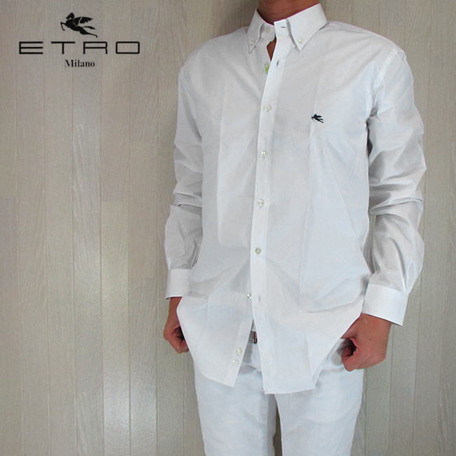 ETRO エトロ シャツ メンズ トップス 長袖 カジュアル カジュアルシャツ 13864 3078/ホワイト サイズ:41