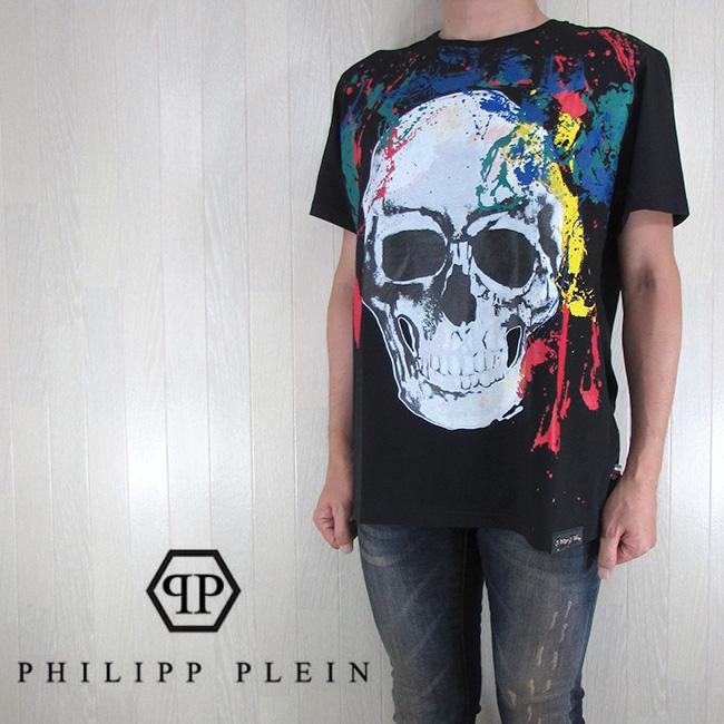 フィリッププレイン PHILIPP PLEIN メンズ Tシャツ 半袖 カットソー 丸首 ビッグシルエットTシャツ S17C MTK0004/ブラック サイズ:XXL/3XL