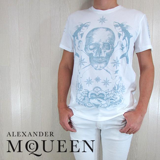 アレキサンダーマックイーン ALEXANDER McQUEEN メンズ Tシャツ 半袖 クルーネック 丸首 カットソー MNO 417415/0906/ホワイト サイズ:XXS/XS/S