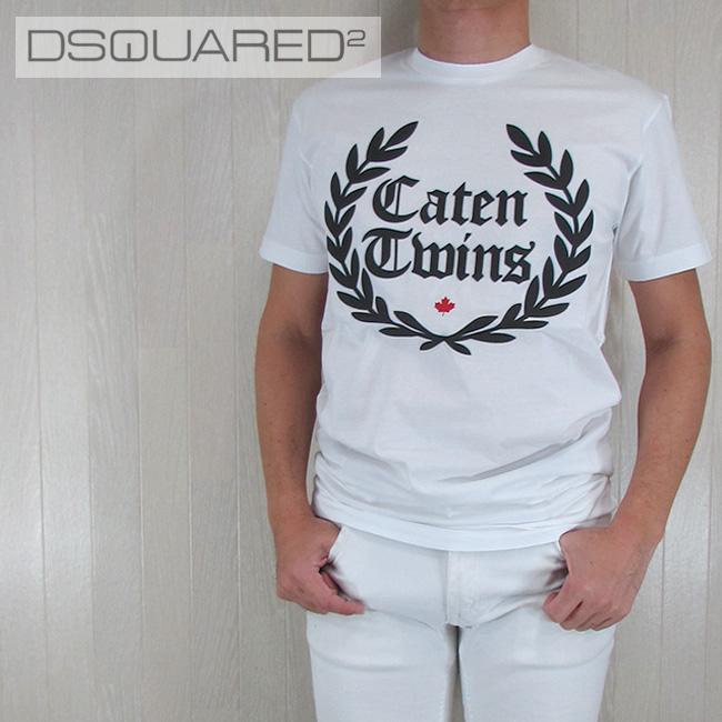 ディースクエアード DSQUARED2 メンズ Tシャツ 半袖 丸首 カットソー S71GD0536100/ホワイト 白 サイズ:M/L/XL/XXL