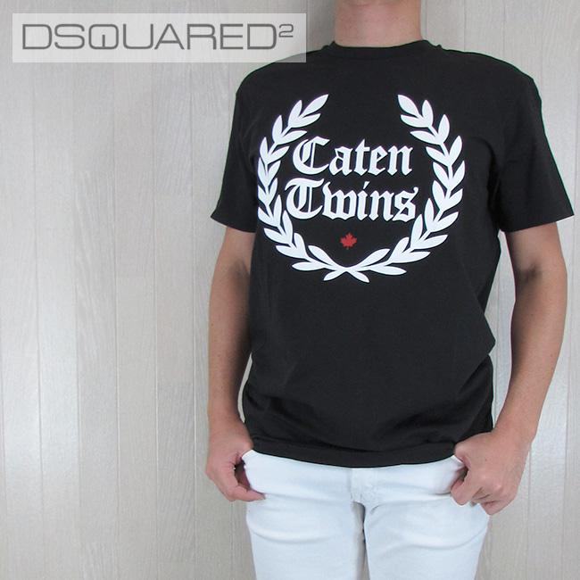 ディースクエアード DSQUARED2 メンズ Tシャツ 半袖 丸首 カットソー S71GD0536900/ブラック サイズ:L/XL