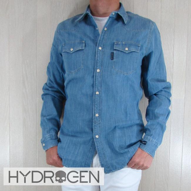 ハイドロゲン HYDROGEN シャツ 長袖 メンズ 長袖シャツ 220514//ブルー 青 サイズ:S~XL