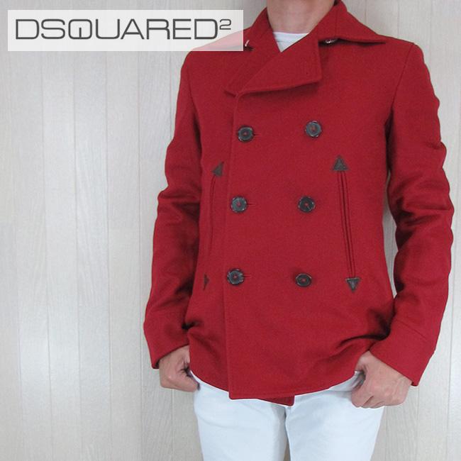 ディースクエアード DSQUARED2 ピーコート Pコート ショート コート アウター 短丈 S74AM0293/046/レッド 赤 サイズ:44~50