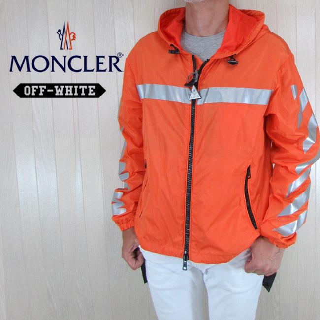 MONCLER Off-White モンクレール オフホワイト メンズ ジャケット マウンテンパーカー ウインドブレーカー 4110080 54155 / GANGUI / 326 / オレンジ サイズ:2/3