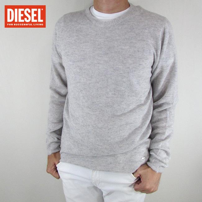 ディーゼル DIESEL メンズ ニット セーター 長袖 トップス 丸首 クルーネック K-PRECIOUS PULLOVER / 129 / グレー サイズ:L