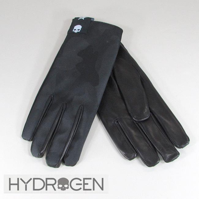 ハイドロゲン HYDROGEN メンズ レザーグローブ 手袋 小物 ギフト 233920 / 857 / ブラックカモ サイズ:S~L