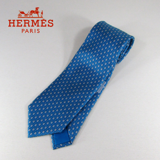 エルメス HERMES ネクタイ メンズ シルクネクタイ 8cm H柄 606086T/ブルー
