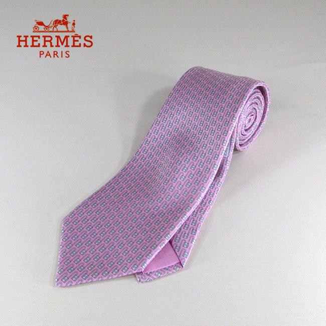 HERMES エルメス ネクタイ メンズ シルクネクタイ 8cm H柄 606086 / / ピンク