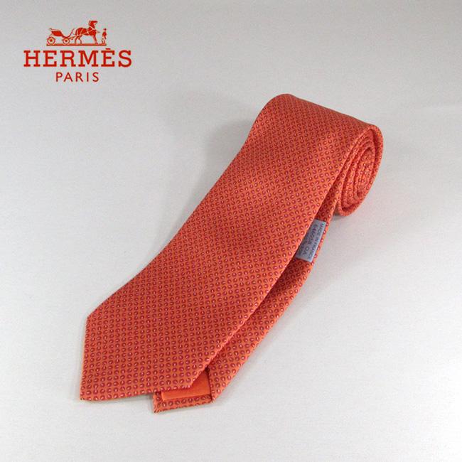 HERMES エルメス ネクタイ メンズ シルクネクタイ 8cm H柄 646058 / / オレンジ
