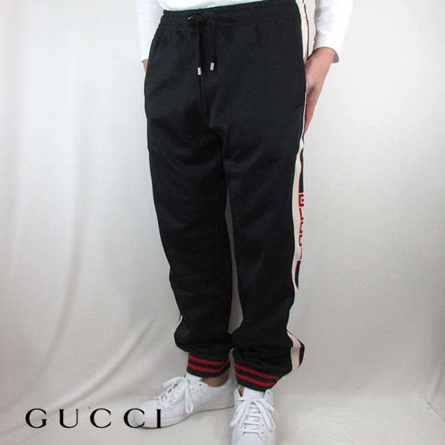 グッチ GUCCI メンズ パンツ ジャージー ロングパンツ ズボン MHO 474635 X5T39/1008 /ブラック サイズ:L