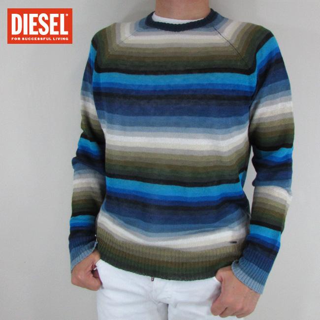ディーゼル DIESEL メンズ ニット セーター ボーダー 長袖 トップス K-COLORYS / 8BA / ブルーマルチカラー サイズ:S/M