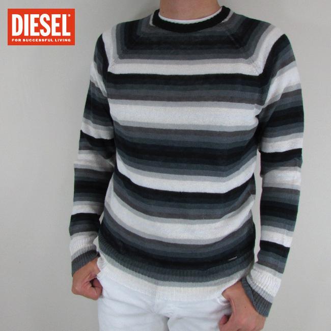 ディーゼル DIESEL メンズ ニット セーター ボーダー 長袖 トップス K-COLORYS / 900 / ブラックマルチカラー サイズ:S~XL