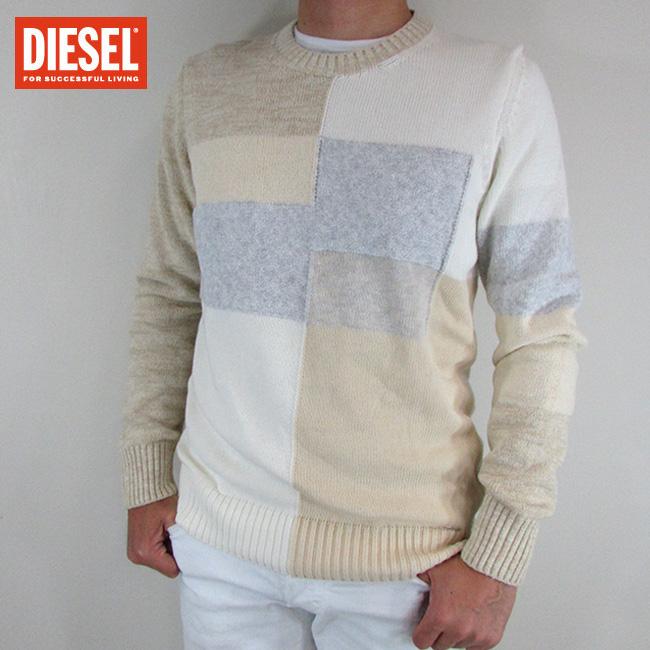 ディーゼル DIESEL メンズ ニット セーター 長袖 トップス K-KENDALL / 78H / ホワイト サイズ:L