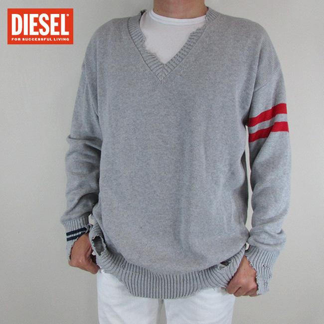 ディーゼル DIESEL メンズ ニット セーター 長袖 トップス K-KURTY MAGLIA / 912 / グレー サイズ:L