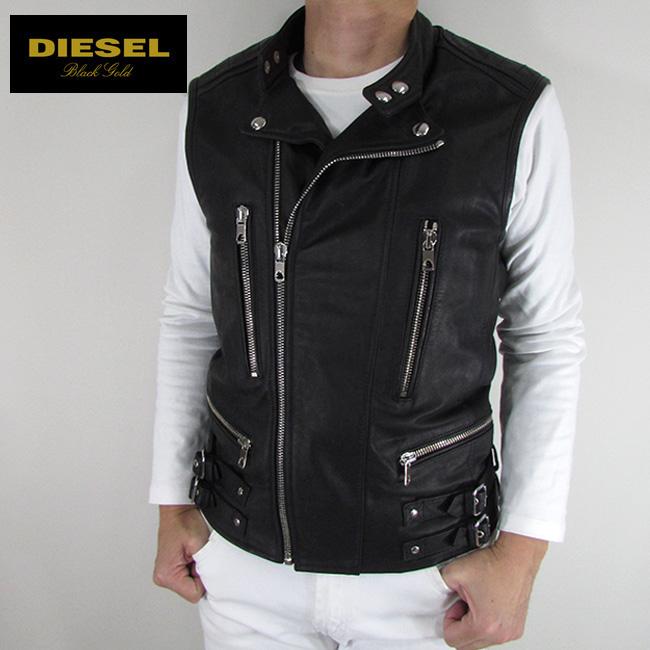 ディーゼル ブラックゴールド DIESEL BLACK GOLD メンズ ベスト レザーベストLIKOL / 900 / ブラック サイズ:48