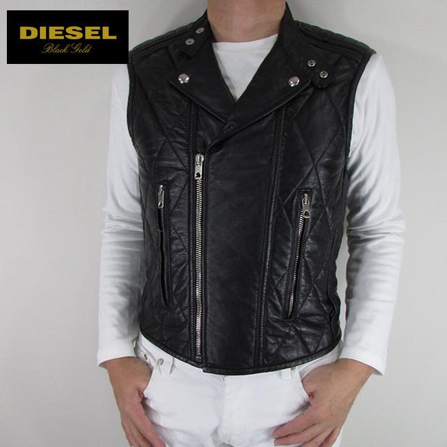 ディーゼル ブラックゴールド DIESEL BLACK GOLD メンズ ベスト レザーベストLORTAJIO / 900 / ブラック サイズ:48